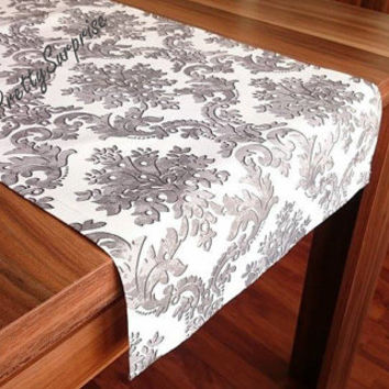 NEW!! Gray Damask Table Runner, Modern Table Runner, Handmade Table Cover, Wedding Decor, Wedding Table Runner