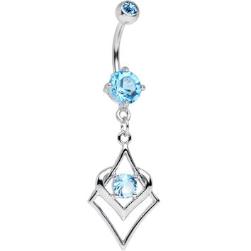 Aqua Cubic Zirconia Persian Knot Dangle Belly Ring