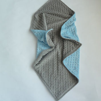 Personalized Baby Blanket -  Baby Girl or Boy Stroller blanket - Custom Made - You Choose Minky Colors - gray and baby blue