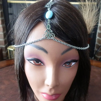 Bohemian Chain headband, TURQUOISE stone hair chain, Head chains, Wedding head chains, Adjustable head piece with lobster clasp in aqua,