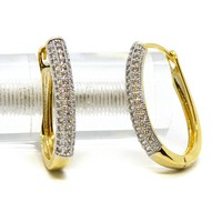 (1-2676-j6-2) Gold Overlay Oval CZ Huggie Hoops, 18x25mm.