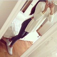 White Split Side  Ribbed Sweatshirt