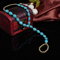 Women's fashion Jewelry Ankle Bracelet Anklet Turquoise Toe Ring Beads Summer foot Chain New (Size: One Size, Color: Blue)