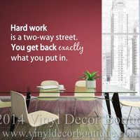 Hard Work Viny wall decal wall quote wall art teen boy bedroom wall decal Hard Work