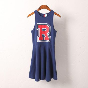 R Printed Cheer Leader Sleeveless Dress