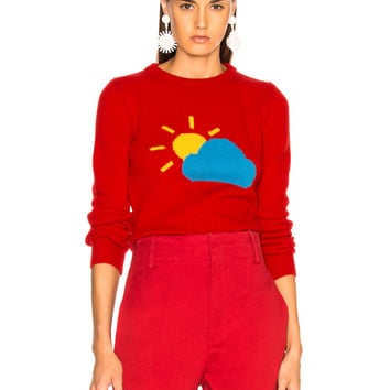 ALBERTA FERRETTI Partly Cloudy Crewneck Sweater in Red, Yellow & Blue | FWRD