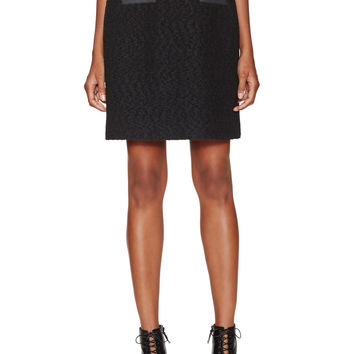 Jason Wu Women's Boucle Leather Trim Skirt - Black -