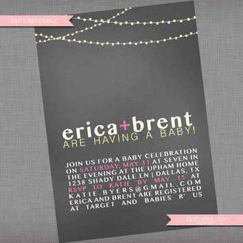 Coed Baby Shower Invitation - Backyard String Lights Invitation - Printable Couples' Custom Baby Shower Invitation