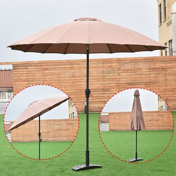 Outdoor 9ft Patio Umbrella Sunshade Cover Market Garden Cafe Crank Tilt Tan New