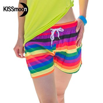 KISSyuer Quick-drying Rainbow brand Navy stripes shorts for women beach Couple women board shorts KBS1004