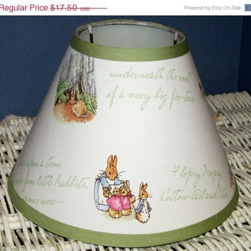 ON SALE PETER Rabbit Lamp Shade Kids Decor Kids Baby Nursery handmade with Pottery Barn Kids fabric