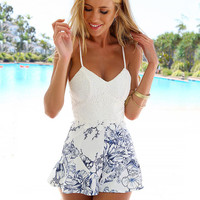 White Floral Lace Accent Romper