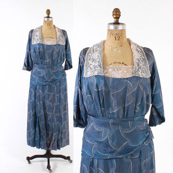 Vintage EDWARDIAN DRESS / 1910s Blue Silk Day Dress S - M