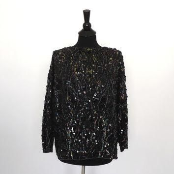 Size Large Vintage Jordan Elegant Black Silk Blouse Dress Shirt Sequin Beaded Top Show