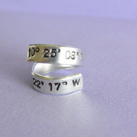 GPS Coordinates Hand Stamped Spiral Ring Aluminum Skinny Cuff Adjustable Geek Jewelry Gift For Her Favorite Place Latitude Longitude Custom