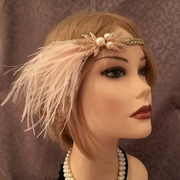 Gold Braided 1920s Art Deco Leaf Pearl Brooch Flapper Headband Headpiece Handmade Adjustable 20s Gatsby Head Band Piece Costume (647)