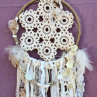 Small Shabby Chic Vintage Lace and Button Handmade Dream Catcher