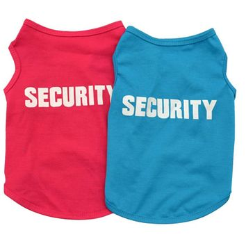Security Soft Cotton Dog Summer Tshirts in Blue or Red