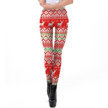 Reindeer Snow Digital Print Thin Women Christmas Party Skinny Leggings