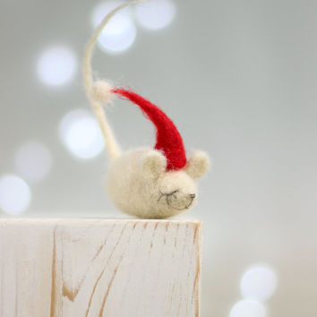Needle Felt Mouse - Christmas Dreamy Felt Mouse With A Red Hat -Needle Felt Art Doll - Mouse Miniature