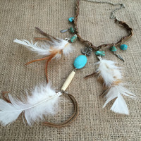 Om Necklace, Turquoise Necklace,Feather Necklace,Tassel Necklace, Leather Necklace,Bohemian Necklace, Feather Necklace, Bone Necklace