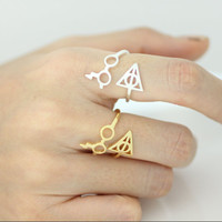 harry potter glasses and deathly hallow ring, adjustable ring, harry potter ring, deathly hollow, unique ring,