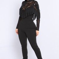 Red Carpet Tassel Jumpsuit - Black