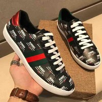 GUCCI  New Fashion Men More Letter Red And Green Stripe Single Shoes Black
