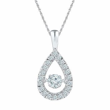 10kt White Gold Women's Round Diamond Moving Twinkle Solitaire Teardrop Pendant 3-8 Cttw - FREE Shipping (US/CAN)