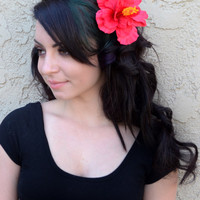 Flower Hair Clip - Red Hawaiian Hibiscus - Hair Accessories - Hula Flowers - Beach Party - Flower Girl - Bridal - Festivals