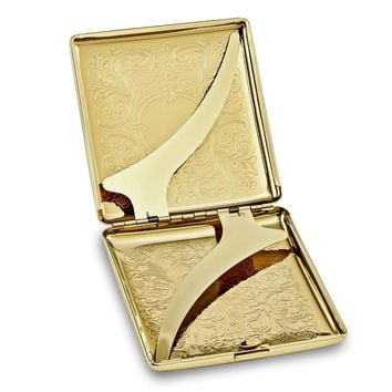 Gold-tone Floral Etched (holds Pack Kings) Cigarette/card Case