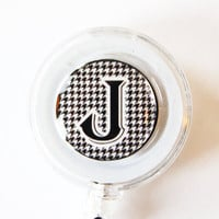 ID Badge Holder, Custom, Personalized, Monogram, Retractable id, Badge clip, black white, houndstooth