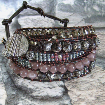 Leather Wrap Bracelet  Bohemian Jewelry Southwest Bracelet Brown Wrap Bracelet Leather Jewelry Hippie Wrap Brown Purple Wrap  Bracelet
