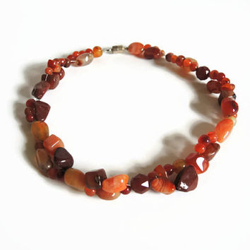 Orange carnelian necklace, handmade beaded semi precious gemstone choker of carnelian and sterling silver finished with a magnetic clasp.