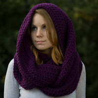 Hooded Scarf, Oversized Infinity Purple, Christmas in July Sale, CIJ