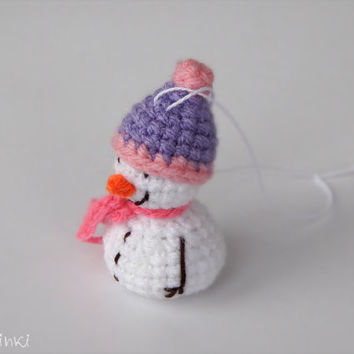 Beautiful Christmas gift for her Tiny cute snowman ornament Perfect gift for women for Christmas decoration Pink Purple Holiday Home Decor
