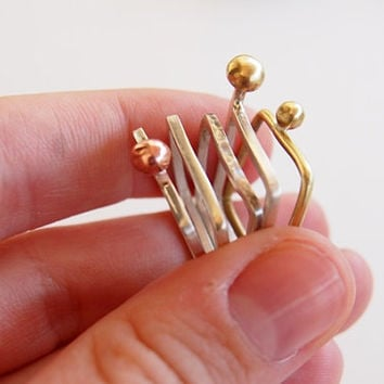 Silver stacking rings set, stackable ring set, silver rings with bronze and copper, five rings