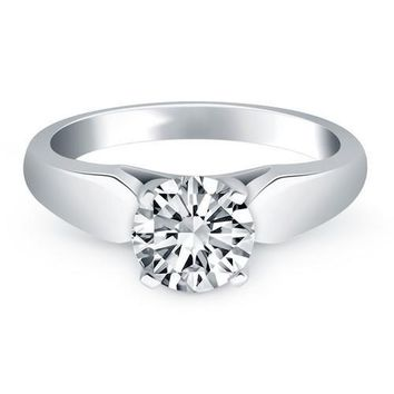 14K White Gold Tapered Cathedral Solitaire Engagement Ring, size 6.5