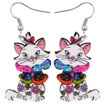 Animal Acrylic Stud Dangle Drop Smile Cat Pets Big Long Earrings New Fashion Jewelry For Kids Women Teens Anime Gifts