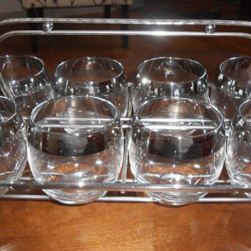 Dorothy Thorpe Roly Poly Silver Band Mid Century Bar Glasses With Carrier Barware Cocktails Entertaining