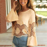 Europe and America Style Lace Blouse  Loose O-neck   Tops Long Sleeve Casual Ladies Blouses Plus Size XD0275 kevinstyle