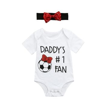 Daddy's #1 Fan Soccer 2PC Bodysuit With Matching Headband