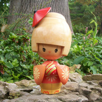 Large Handpainted Wood Japanese Kokeshi Doll in Kimono - Blonde Wood Kokeshi - Signed Vintage Kokeshi Doll - Collectible Wooden Asian Doll