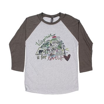 Virginia Roadmap Raglan Tee Shirt by Southern Roots