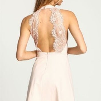 Apricot Halter With Lace Backless Dress Homecoming Party Wedding