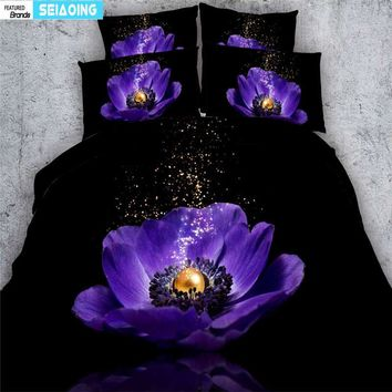 sexy purple floral luxury black bedding set king size single twin full duvet cover adult bedroom decor 3d bed clothes 3/4pc girl