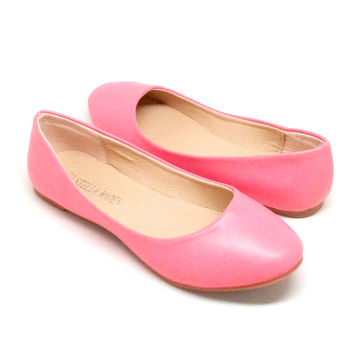 Coral Vegan Leather Flats