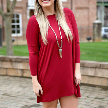Piko dress 3/4 sleeve - wine