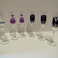 Personalized Wedding Champagne Flutes Wedding Party Glasses