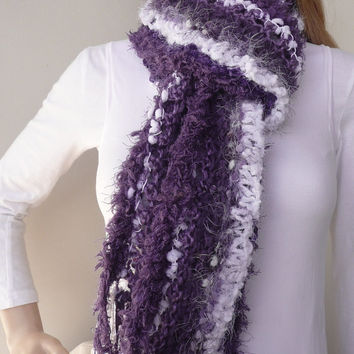 Hand knit scarf - purple and white - Designer Fremantle dockers scarf - unique club scarf in 7 yarns